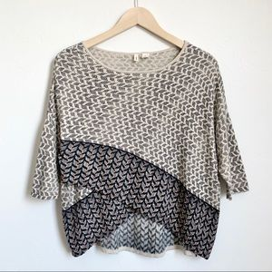 Anthro Moth beaded criss-cross beige knit top